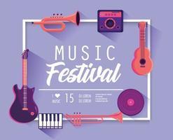 affiche du festival de musique avec des instruments professionnels vecteur