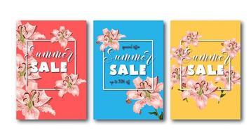 Flyers de soldes d'été sertis de fleurs de lis de corail, cadre carré blanc et texte promotionnel.