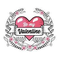 coeur Saint-Valentin avec ruban et plantes vecteur
