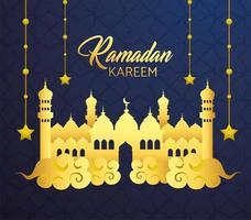 château avec étoiles suspendues pour le ramadan kareem