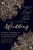 Carte d'invitation de mariage aquarelle florale vecteur