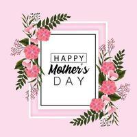 carte de fête des mères avec des fleurs et des feuilles