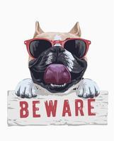 illustration de dessin animé taureau chien tenant méfiez-vous signe