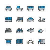 Jeu d'icônes de transport