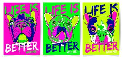 Set d'illustration cool chien dessinés à la main