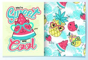 Melon d'eau mignon dessiné avec un motif