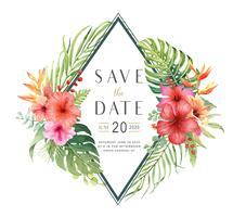 Sauvez la carte de bouquet aquarelle d'Hibiscus de date. vecteur