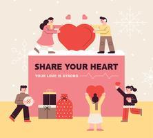 Concept d'amour et cadeaux vecteur