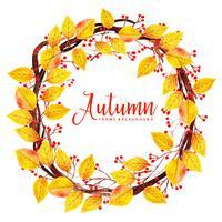 Couronne de feuilles belle aquarelle automne vecteur
