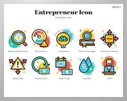 Pack Entrepreneur Icônes Ligne Couleur vecteur