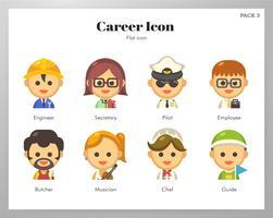 Pack plat d'icônes de carrière vecteur