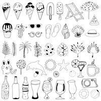 Collection d'éléments d'été dessinés à la main