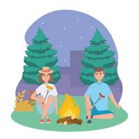 Homme et femme avec feu de camp la nuit vecteur