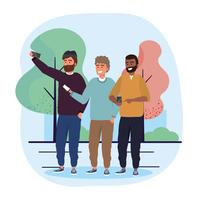 Amis de sexe masculin avec selfies smartphone vecteur