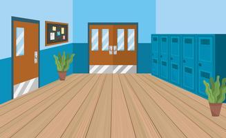 Couloir de l'école vide avec des casiers vecteur