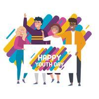 Groupe de jeunes amis tenant l'affiche de la fête de la jeunesse vecteur