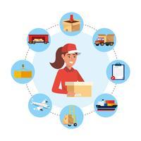 Femme de livraison entourée d'icônes de livraison