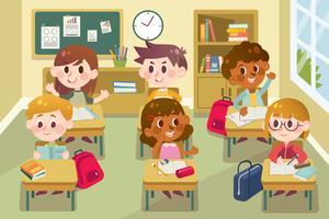 Enfants en classe vecteur