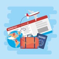 Billet d'avion avec valise et passeport