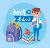 Affiche de retour à l'école avec garçon et sac à dos