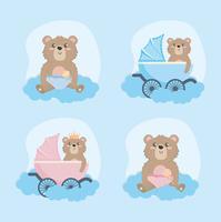 Ensemble de graphiques bébé ours en peluche avec calèche et hochet