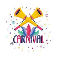 Affiche de carnaval avec trompettes vecteur