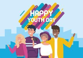 Bonne journée de jeunesse avec les jeunes vecteur