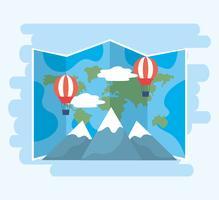 Carte du monde avec des montgolfières et des montagnes