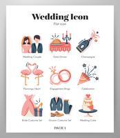 Pack d'icônes de mariage vecteur