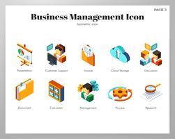 Jeu isométrique des icônes de gestion des affaires