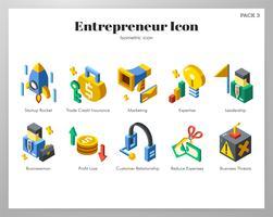 Ensemble isométrique d'icônes entrepreneur vecteur