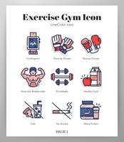 Exercices de gym set d'icônes vecteur