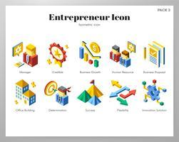 Icônes entrepreneur Pack isométrique vecteur