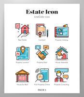 Icônes de l'immobilier LineColor Pack vecteur
