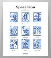 Icônes de cadre Space Pack LineColor vecteur
