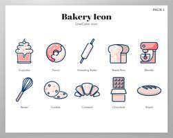 Pack d'icônes de boulangerie vecteur