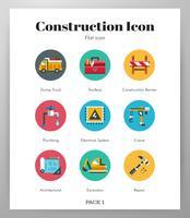 Pack plat d'icônes de construction