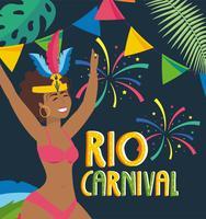 Danseur de carnaval féminin sur l'affiche du carnaval de Rio vecteur