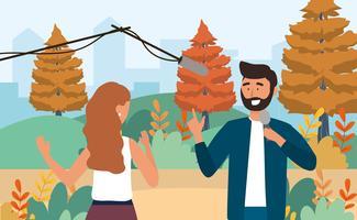 Journaliste homme et femme dans parc vecteur
