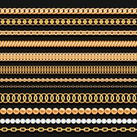 Ensemble de chaînes de perles d'or et de cordes sur fond noir. Brosses sans soudure pour la conception. vecteur