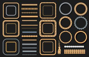 Ensemble de chaînes d'or et d'argent, cordes, perles sur fond noir. Éléments décoratifs de luxe de bijoux