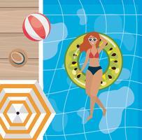 Vue aérienne, de, femme, dans, piscine, flotteur