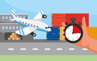 Transport par avion avec main et chronomètre vecteur