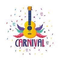Affiche de carnaval avec guitare et plumes vecteur