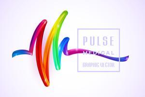 Colorful Pulse Medical sur un élément de design de peinture acrylique à l'huile au trait coloré