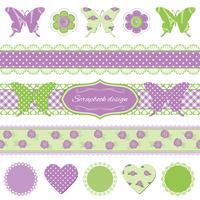 Éléments de conception de scrapbook. Papillons et dentelle.