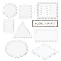 Ensemble de formes différentes de timbres vierges - triangle, carré, rond, ovale, losange vecteur