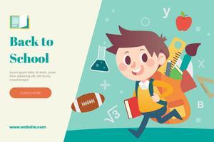 Retour à la disposition de l'école avec l'élève va à l'école vecteur
