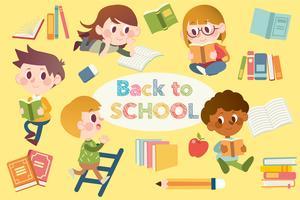 Pack d'éléments de retour à l'école avec des élèves en train de lire