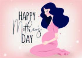 Fille enceinte fête des mères heureuse vecteur
